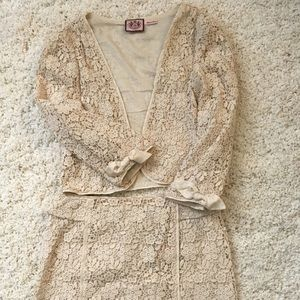 Juicy Couture lace cropped blazer and skirt set